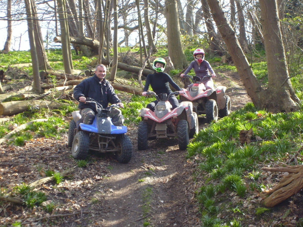 quad bikes in the woods