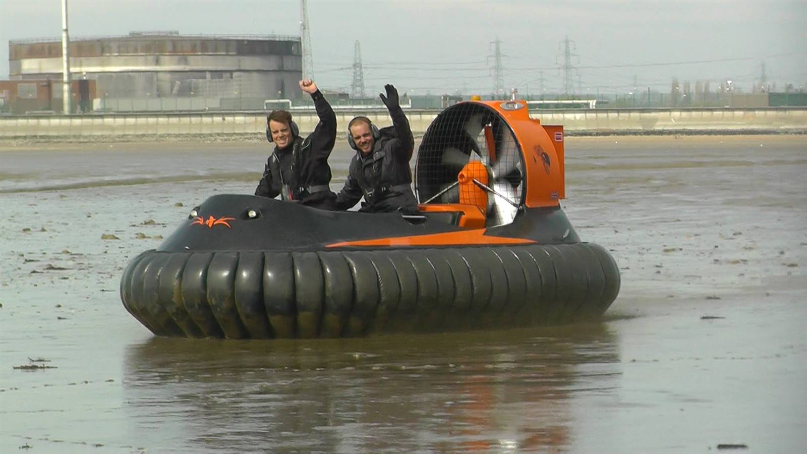 Hovercraft pair in mud