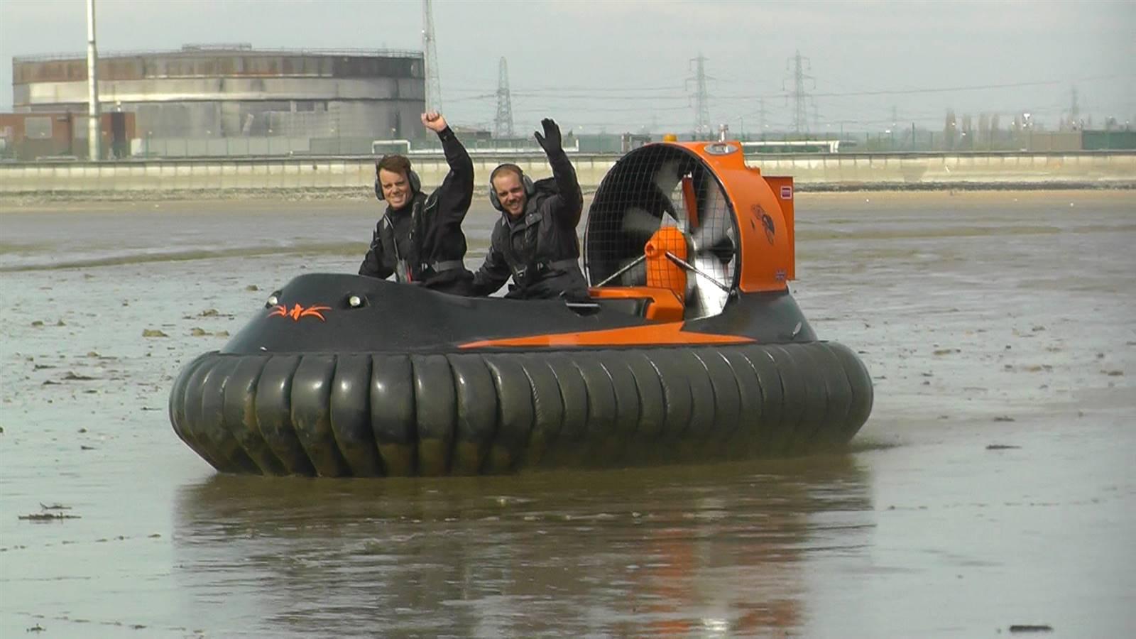 Hovercraft pair in mud